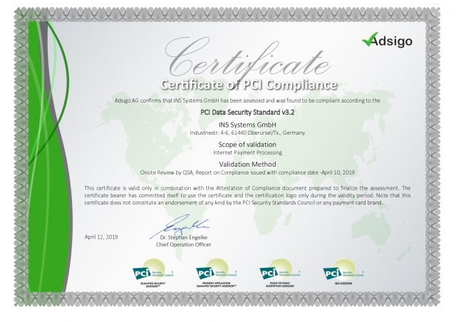 Certificate of PCI Compliance