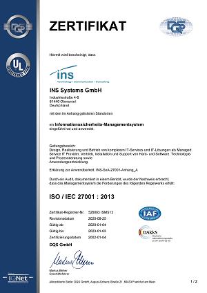Zertifikat ISO/IEC 27001:2013
